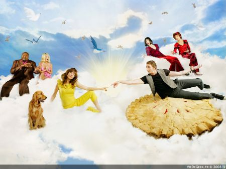 """PUSHING DAISIES - ABC's """"Pushing Daisies"""" stars Lee Pace as Ned, Anna Friel as Chuck, Chi McBride as Emerson, Ellen Greene as Vivian, Swoosie Kurtz as Lily and Kristin Chenoweth as Olive. (ABC/KATE TURNING)"""
