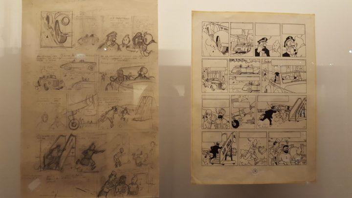 Dessins de Tintin au Grand Palais pour l'exposition Hergé.