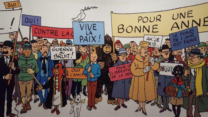 Carte de voeux géante au Grand Palais pour l'exposition Hergé.