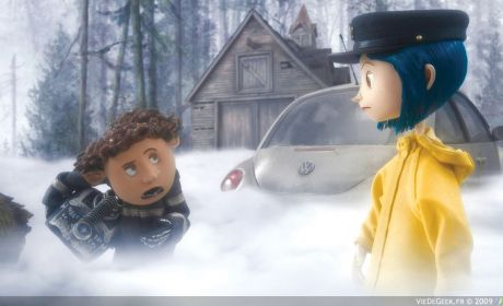 (l-r) Wybie (voiced by Robert Bailey Jr.) goes exploring with his new neighbor Coraline Jones (voiced by Dakota Fanning) in Henry Selick's stop-motion animated 3-D adventure CORALINE, from LAIKA Entertainment for release by Focus Features.