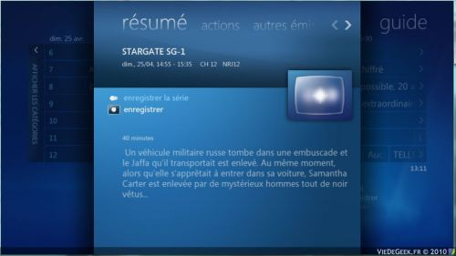 [Windows Seven] Le guide TV du media center